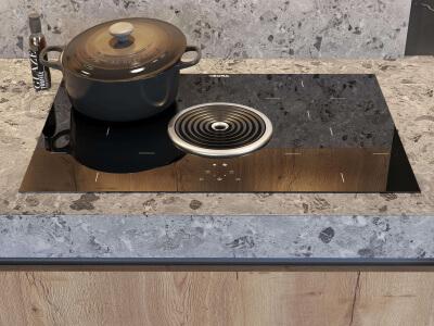 Keuken Inductiekookplaat met geïntegreerde afzuigkap