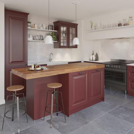 Keukens - Rustiek robijnrood