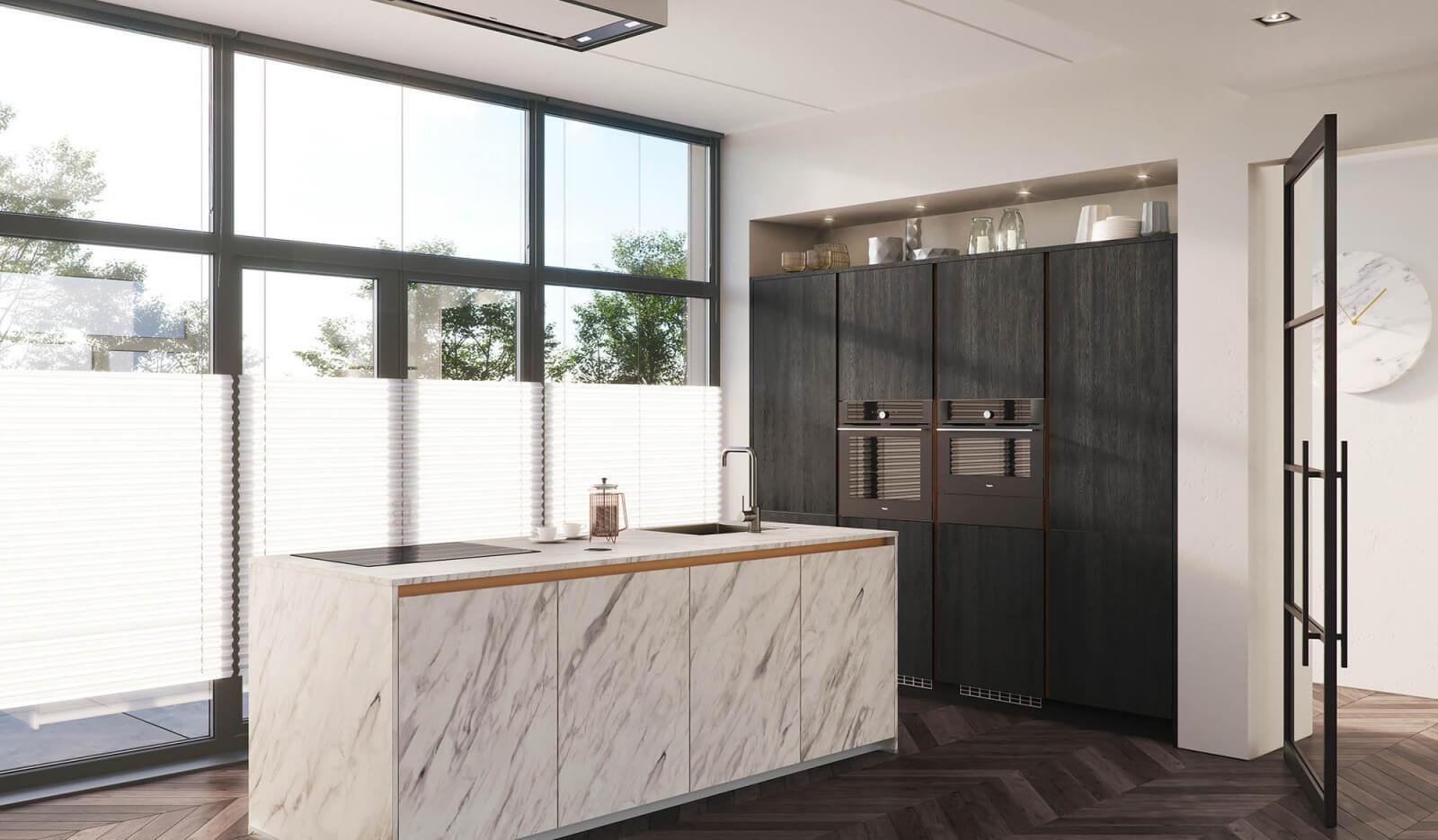 Keuken Atlas marmer & Jura eiken zwart - greeploze keuken