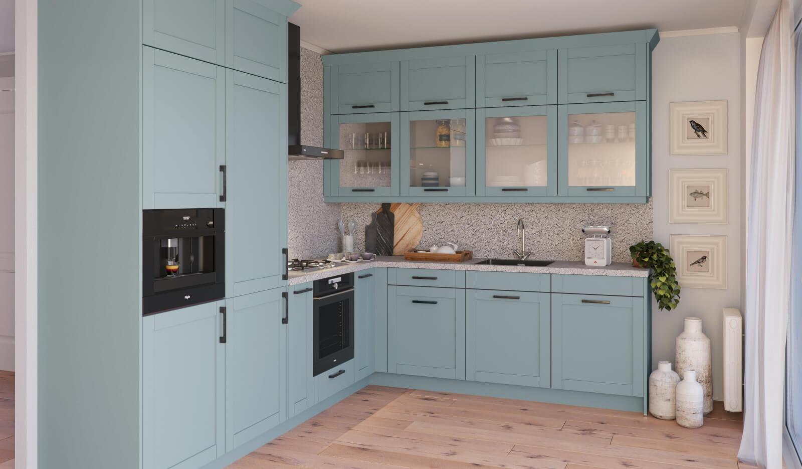 Keuken Romantiek NCS hemelsblauw - hoekkeuken