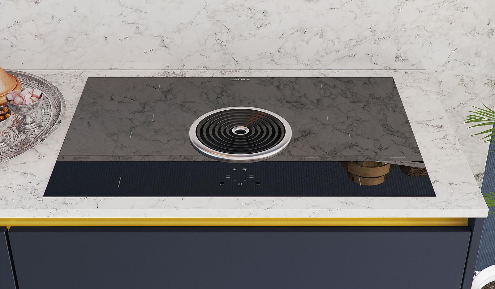 Keuken Olympia nachtblauw - Afzuigkap & kookplaat in één