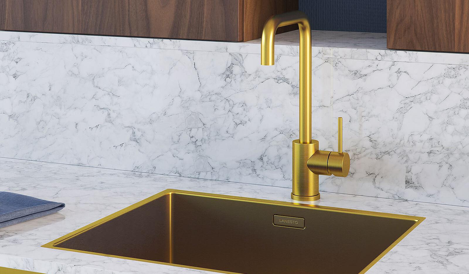 Keuken Olympia nachtblauw - gouden kraan en wasbak