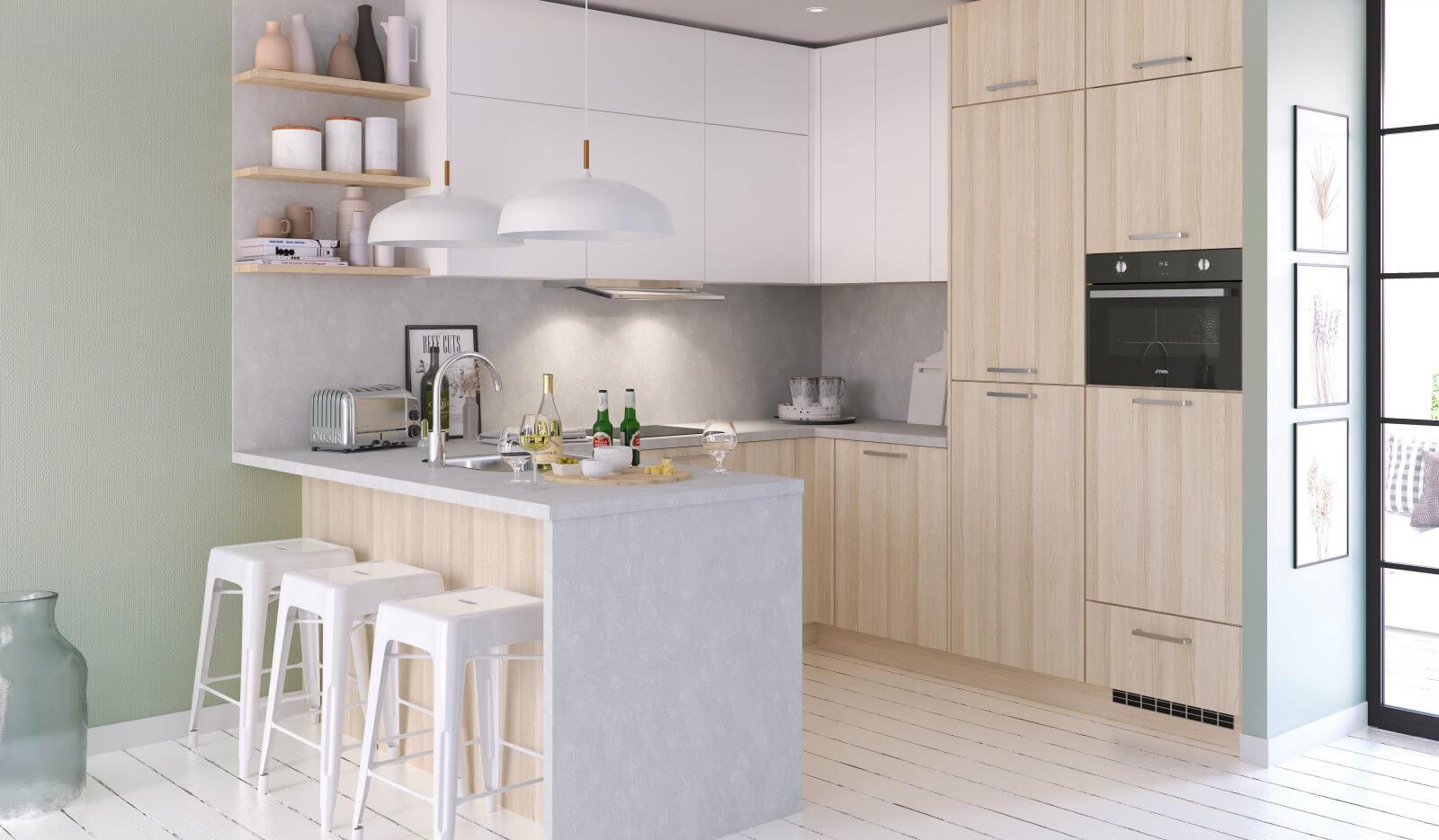 Keuken Atlas wit & acacia - u-keuken met schiereiland