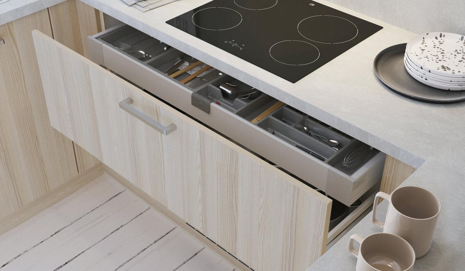 Keuken Atlas wit & acacia - extra brede voorraadlade