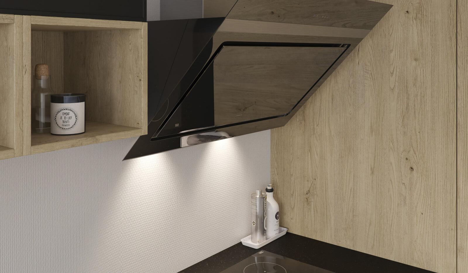 Keuken Brighton zwart - afzuigkap schuinwandmodel