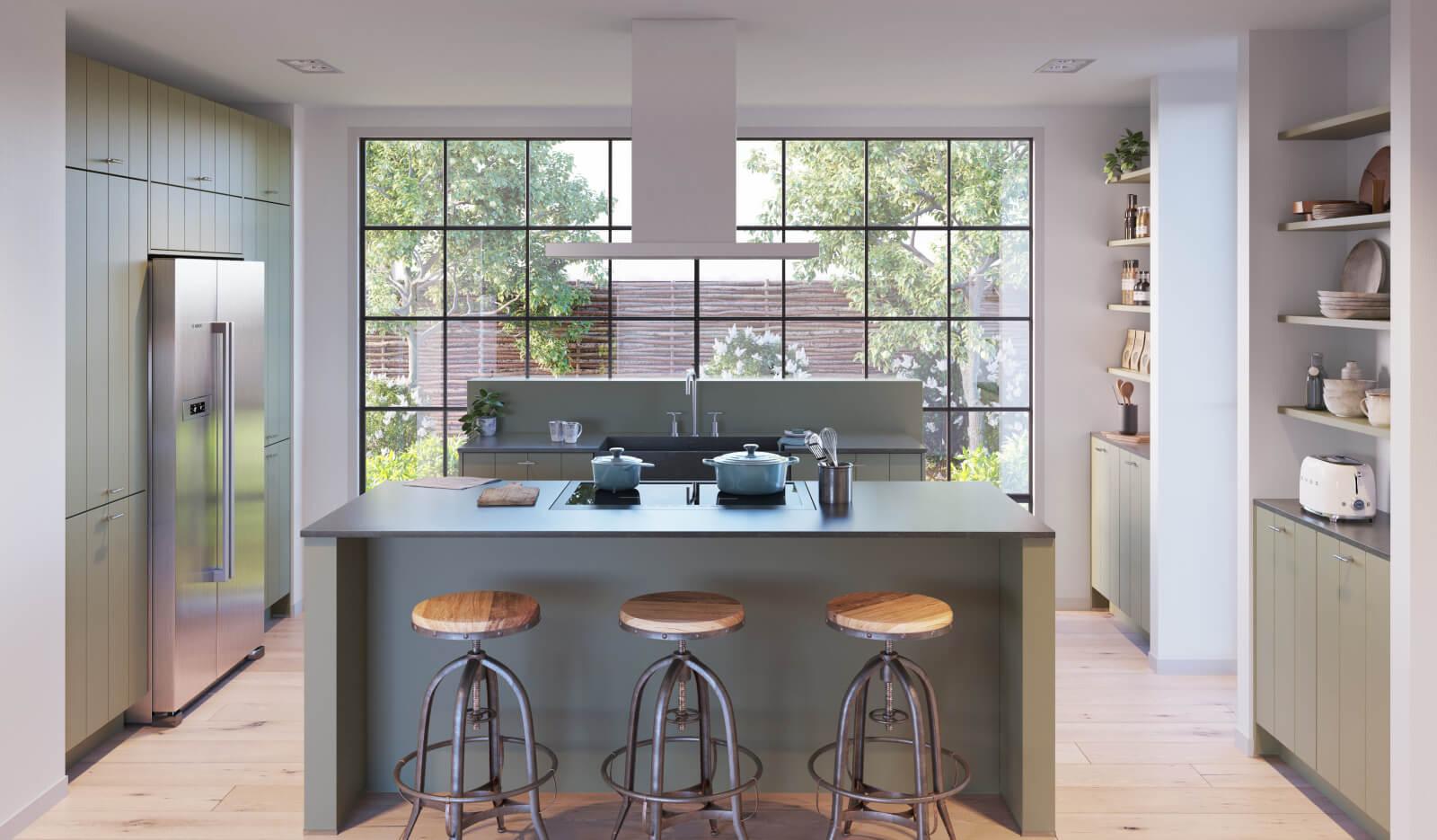 Keuken Olympia Stroken NCS olijfgroen - leefkeuken
