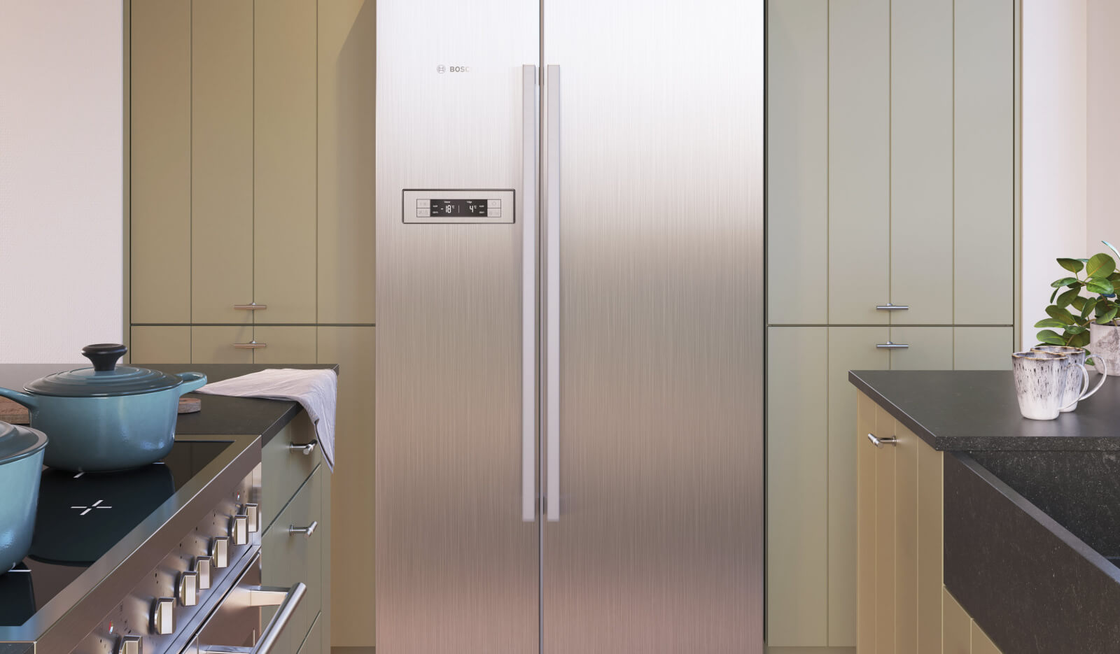 Keuken Olympia Stroken NCS olijfgroen - Amerikaanse koelkast