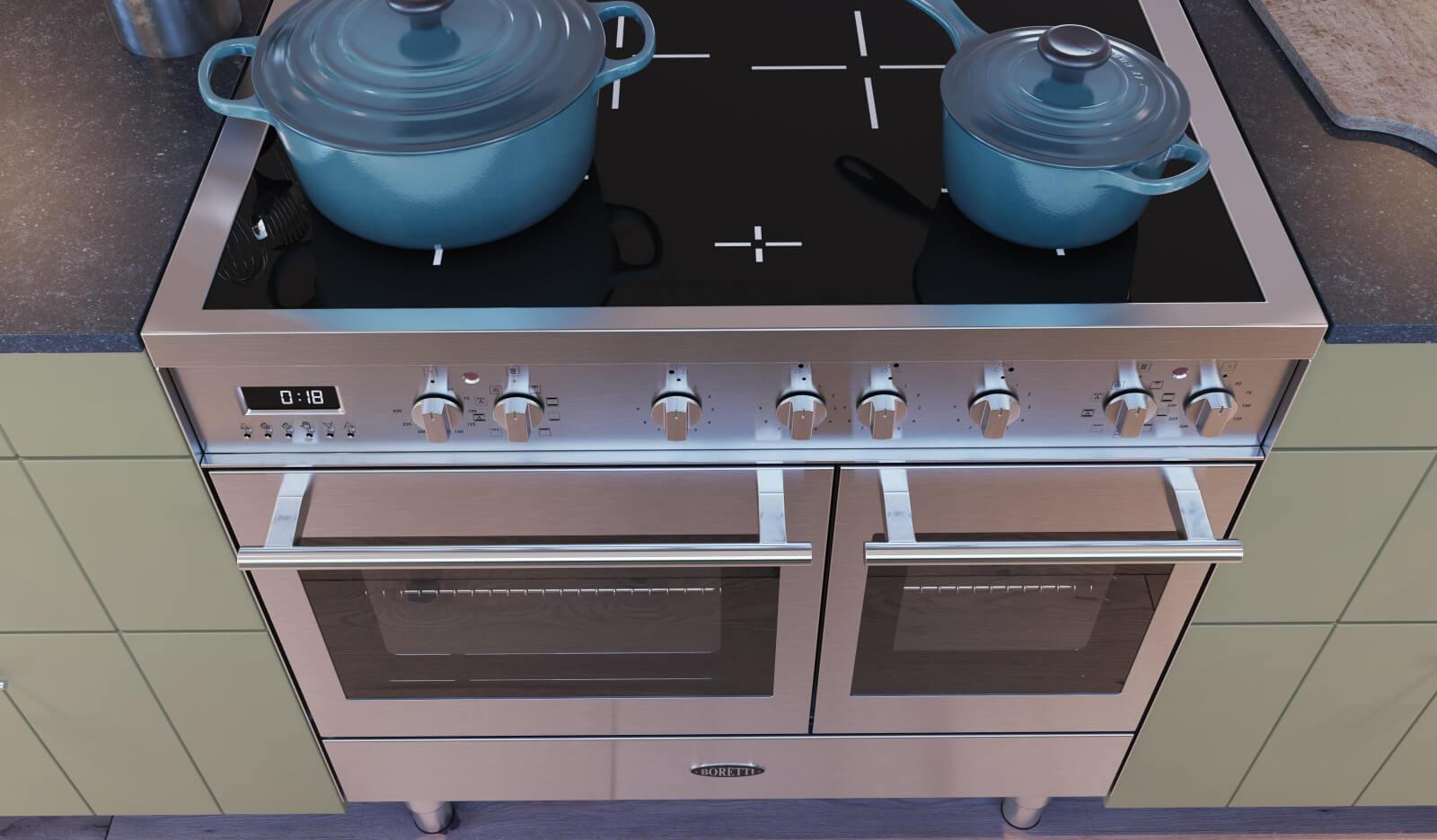 Keuken Olympia Stroken NCS olijfgroen - inductiefornuis