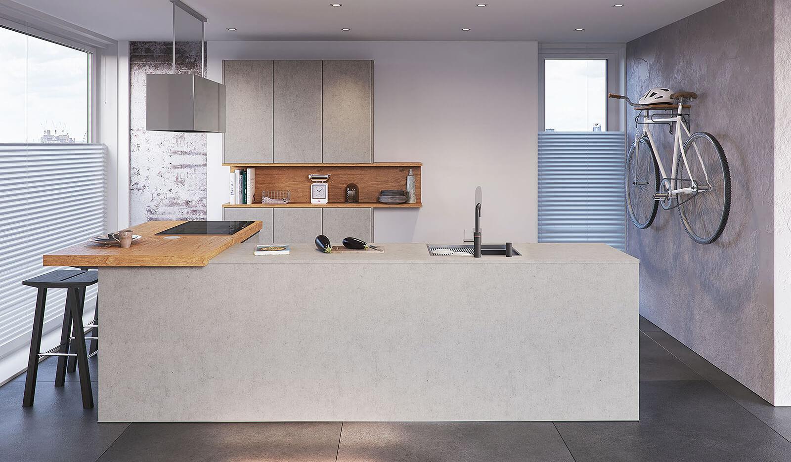 Keuken Atlas betongrijs & oud eiken natuur - schiereiland