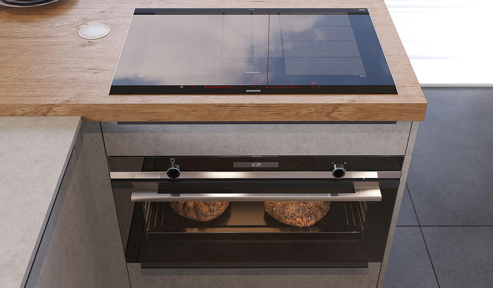 Keuken Atlas betongrijs & oud eiken natuur - extra grote oven