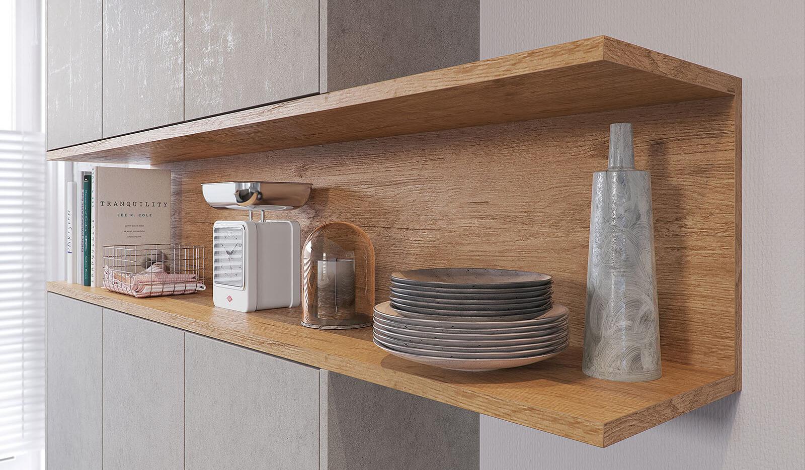 Keuken Atlas betongrijs & oud eiken natuur - open kast design