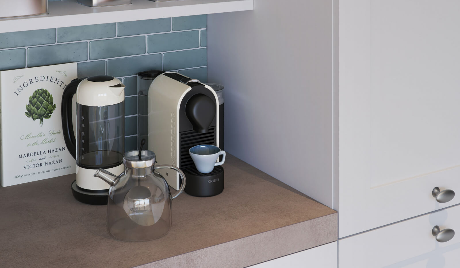 Keuken Atlas Kader wit - koffiehoek