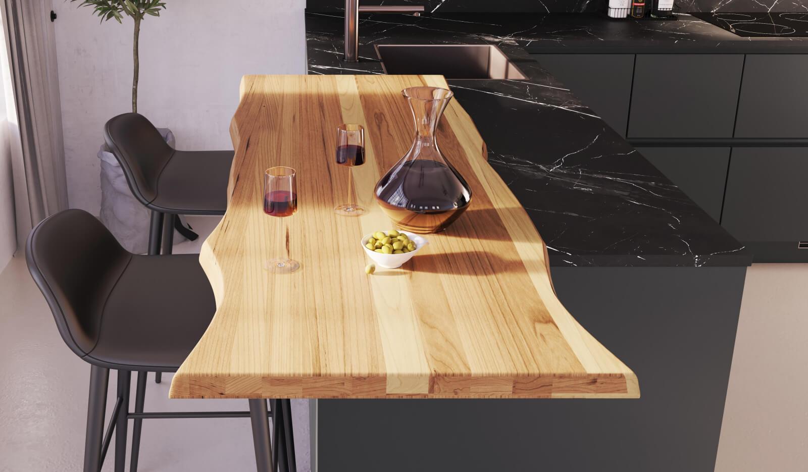 Keuken Matterhorn leisteengrijs - houten bartafel