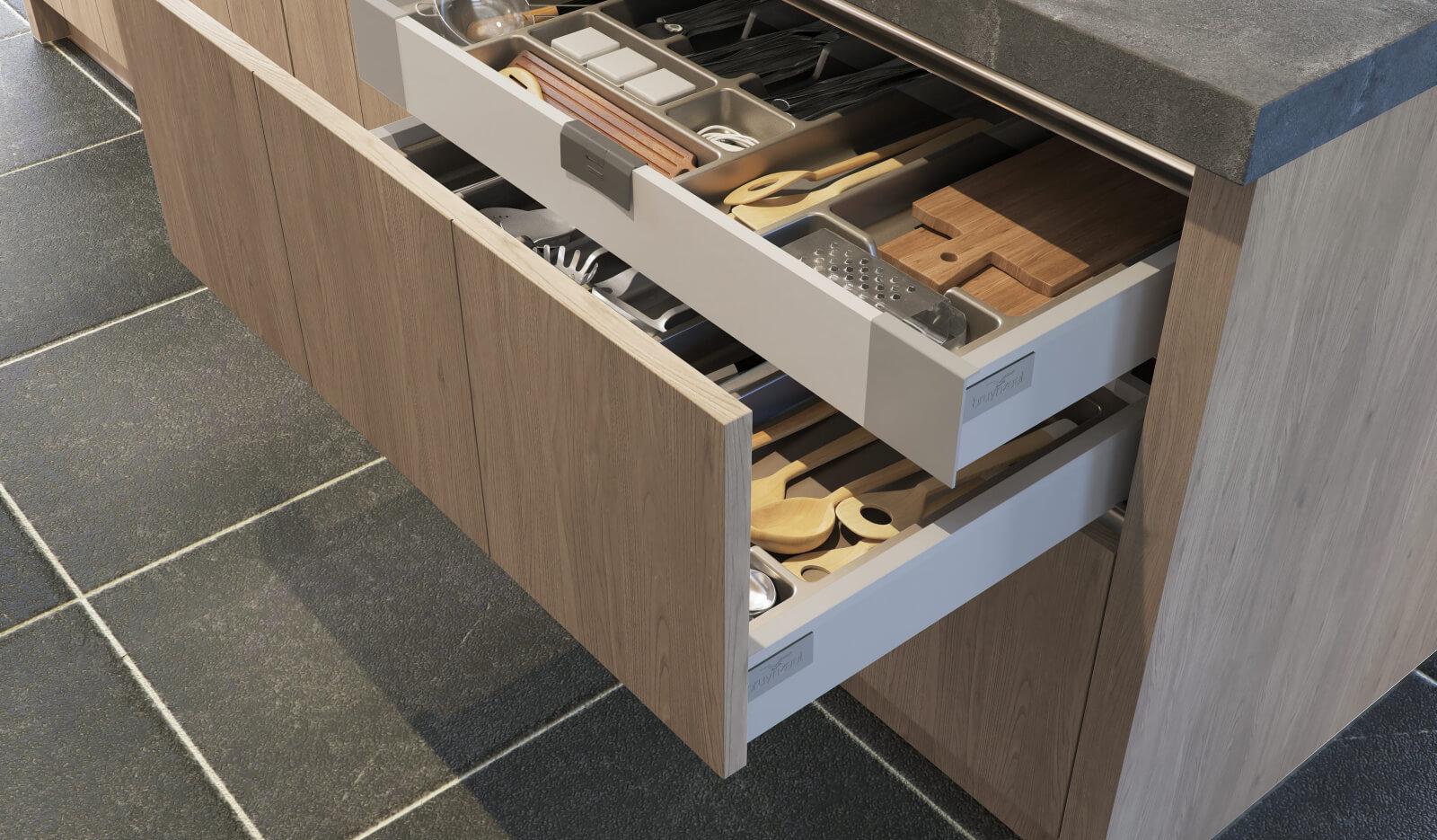 Keuken Aerdenhout Stroken 20 grijs eiken - Bestek- en voorraadlade