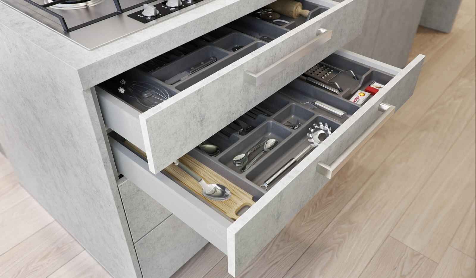 Keuken Atlas betongrijs - besteklade