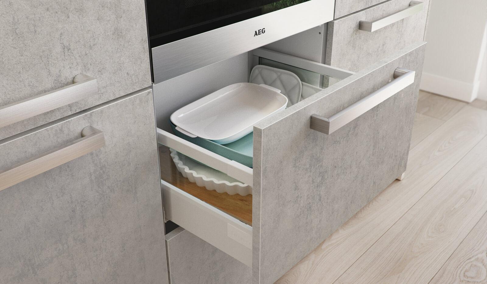 Keuken Atlas betongrijs - voorraadlade