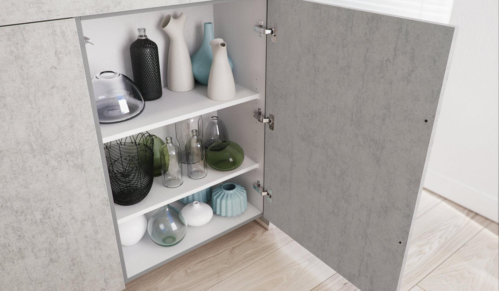 Keuken Atlas betongrijs - tip-on keukenkast