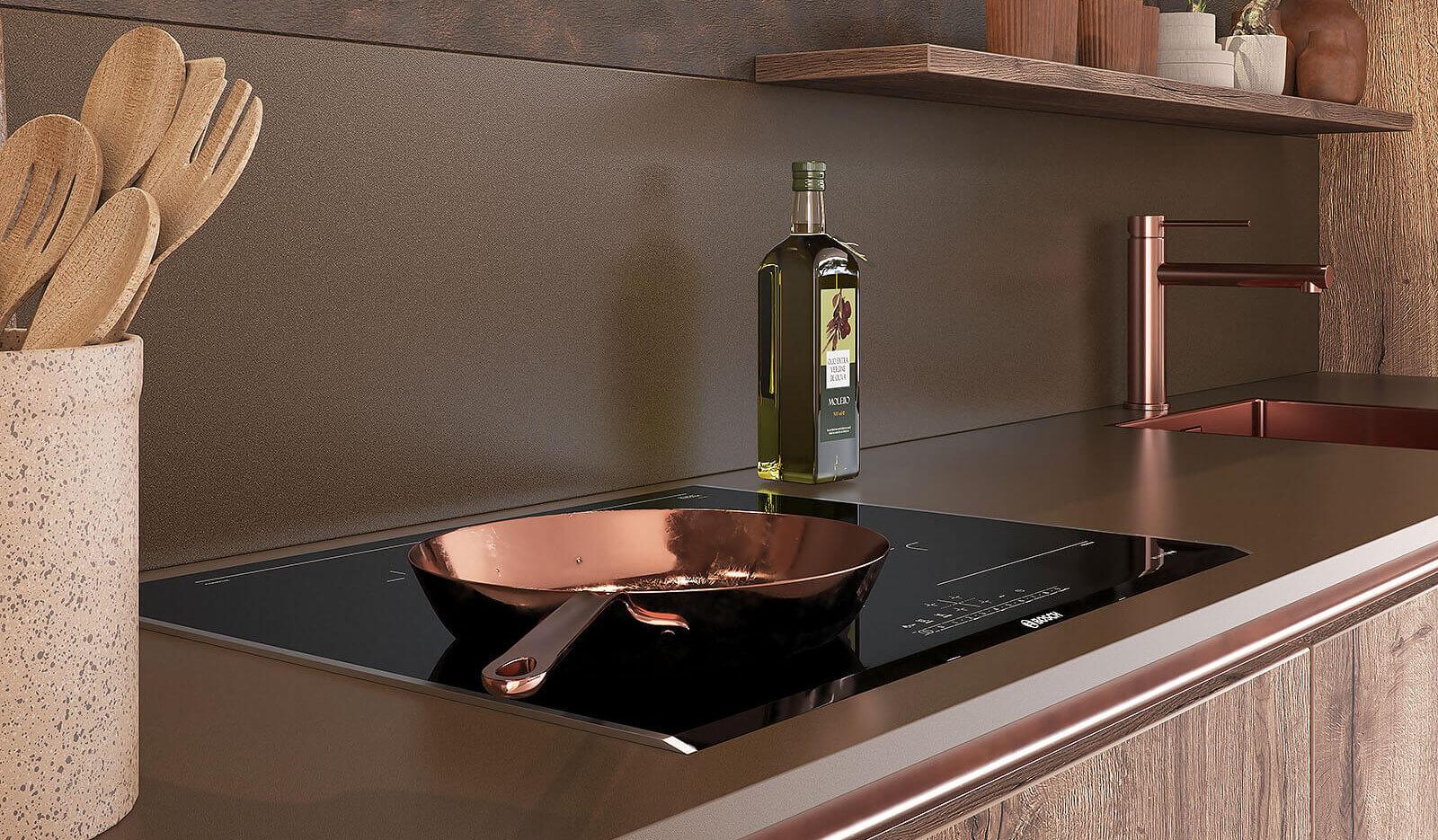 Keuken Jura wild eiken donker en Metallic koper - inductiekookplaat