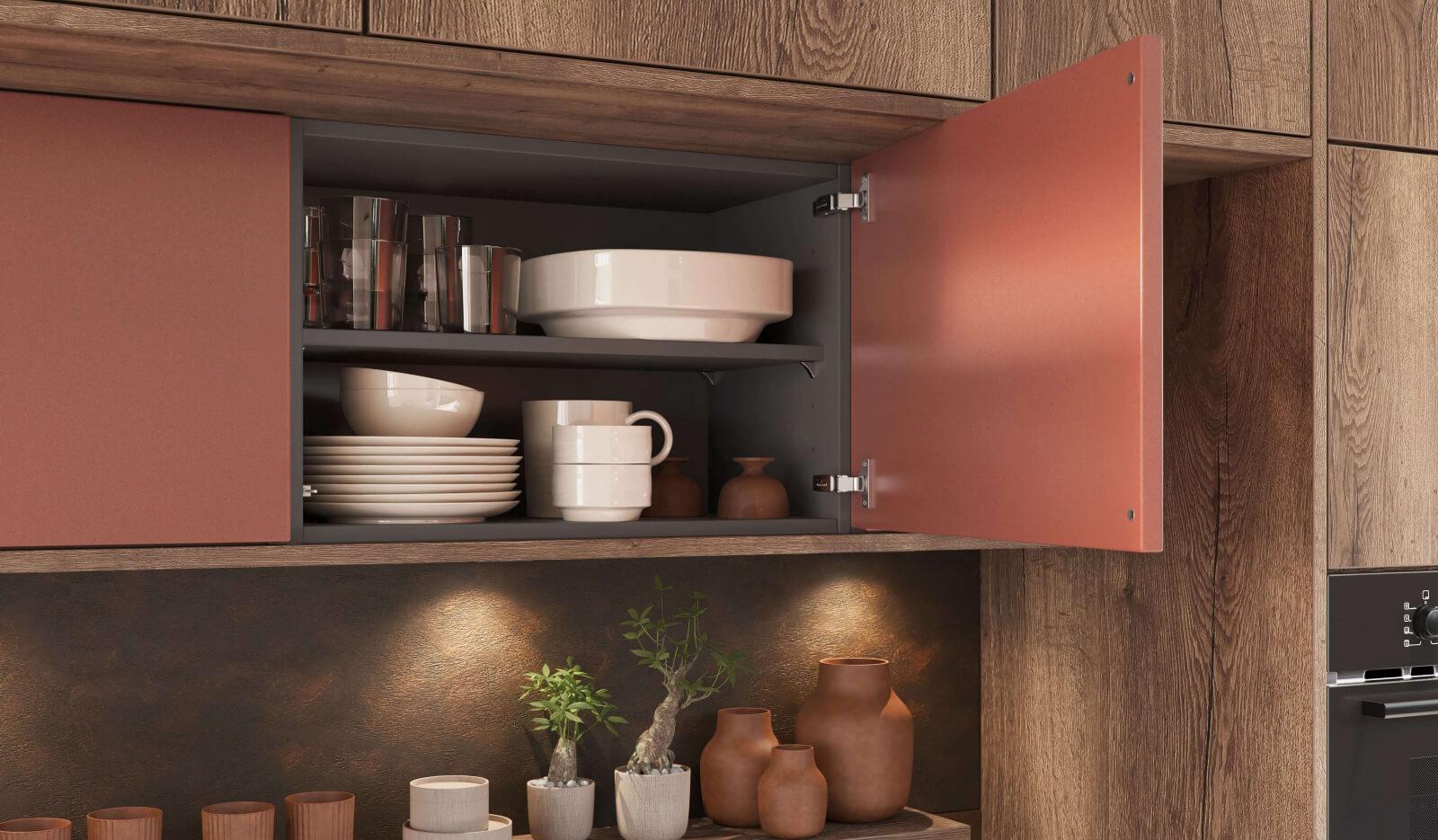 Keuken Jura wild eiken donker en Metallic koper - keukenkasten