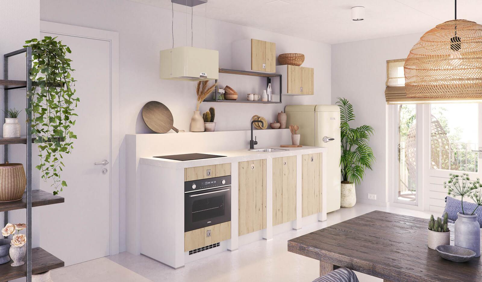 Keuken Karakter Licht Eiken - rechte keukenopstelling
