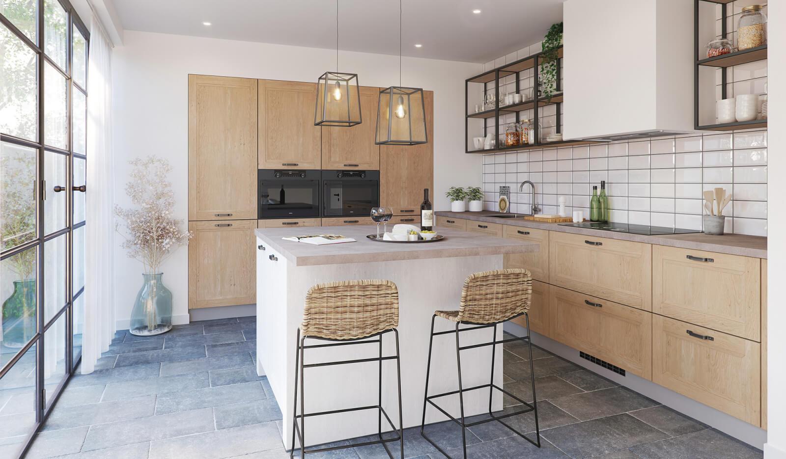 Keuken Ravenstein licht eiken en wit - woonkeuken