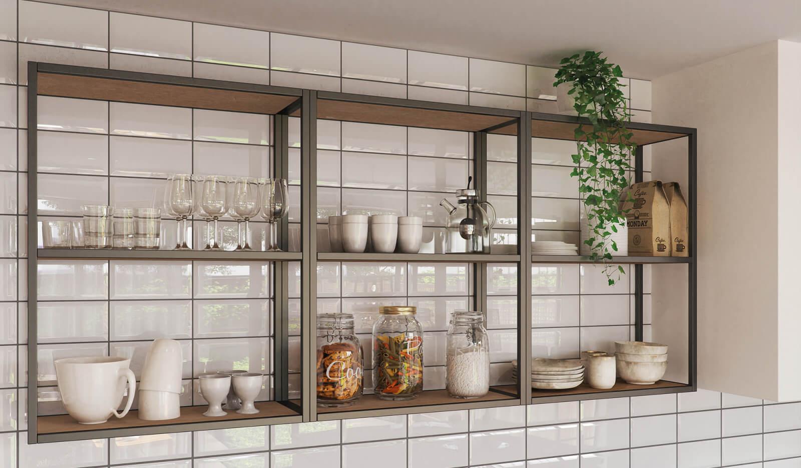 Keuken Ravenstein licht eiken en wit - open kast