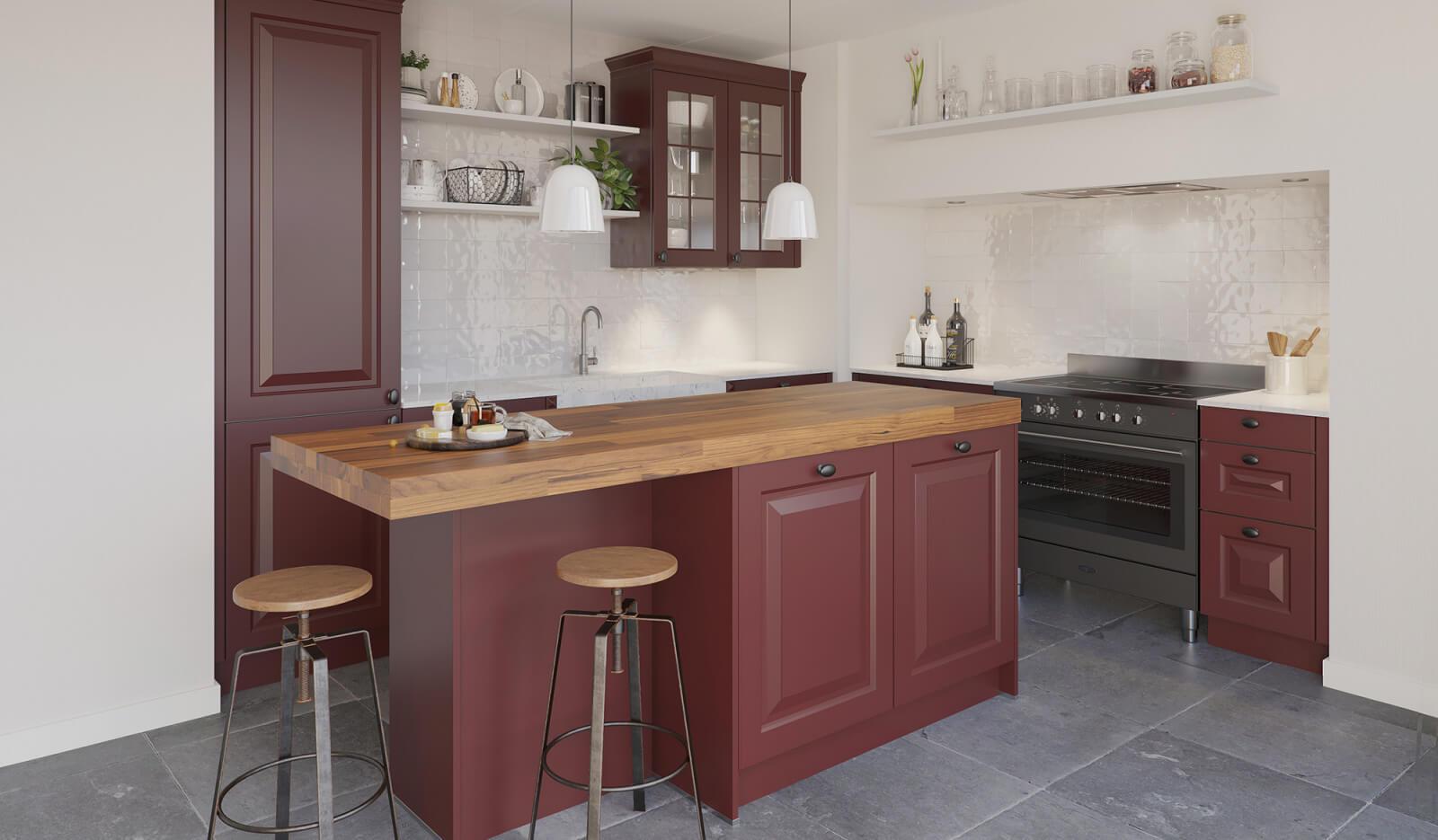 Keuken Rustiek robijnrood - kookeiland