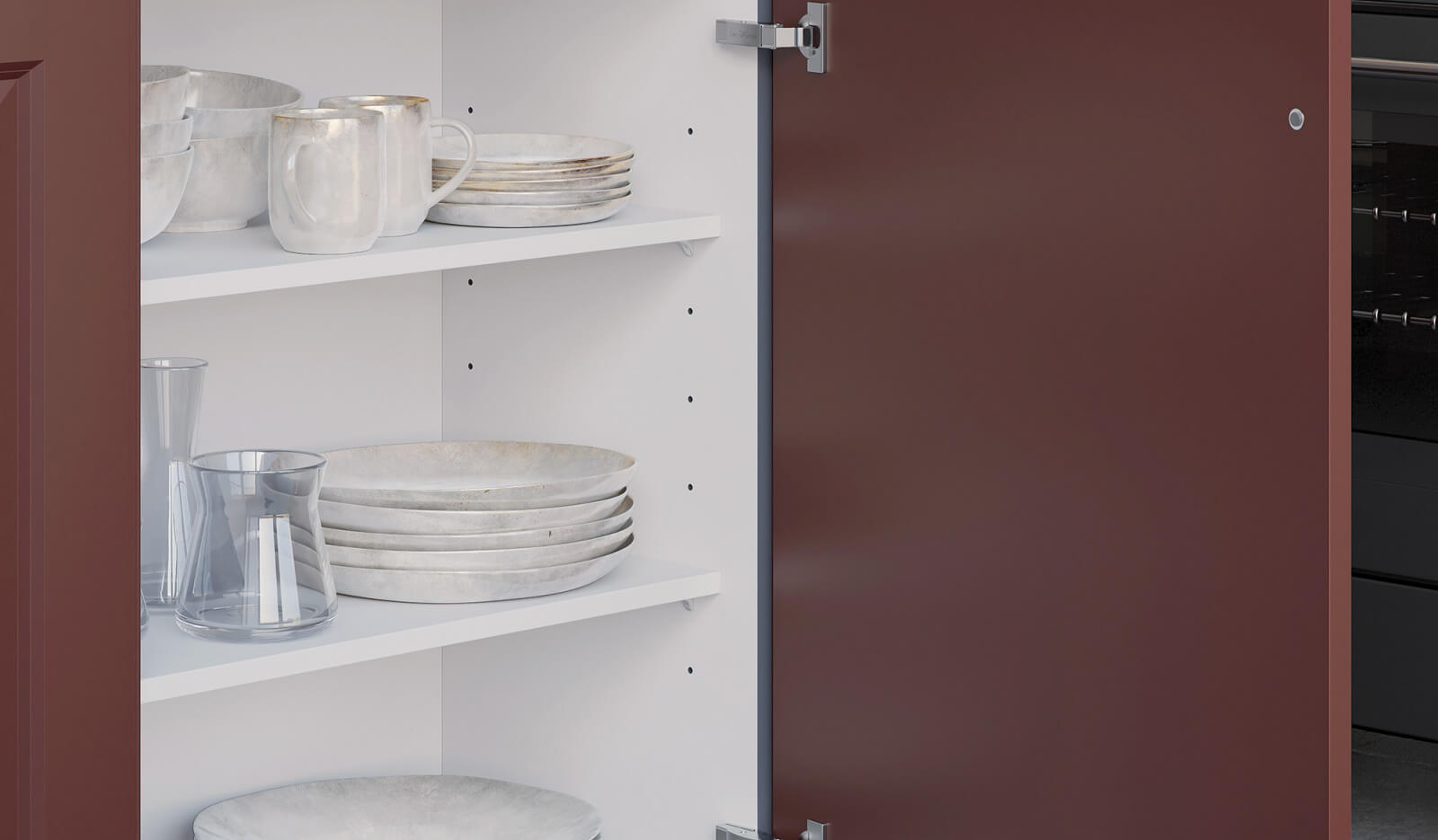 Keuken Rustiek robijnrood - opbergruimte