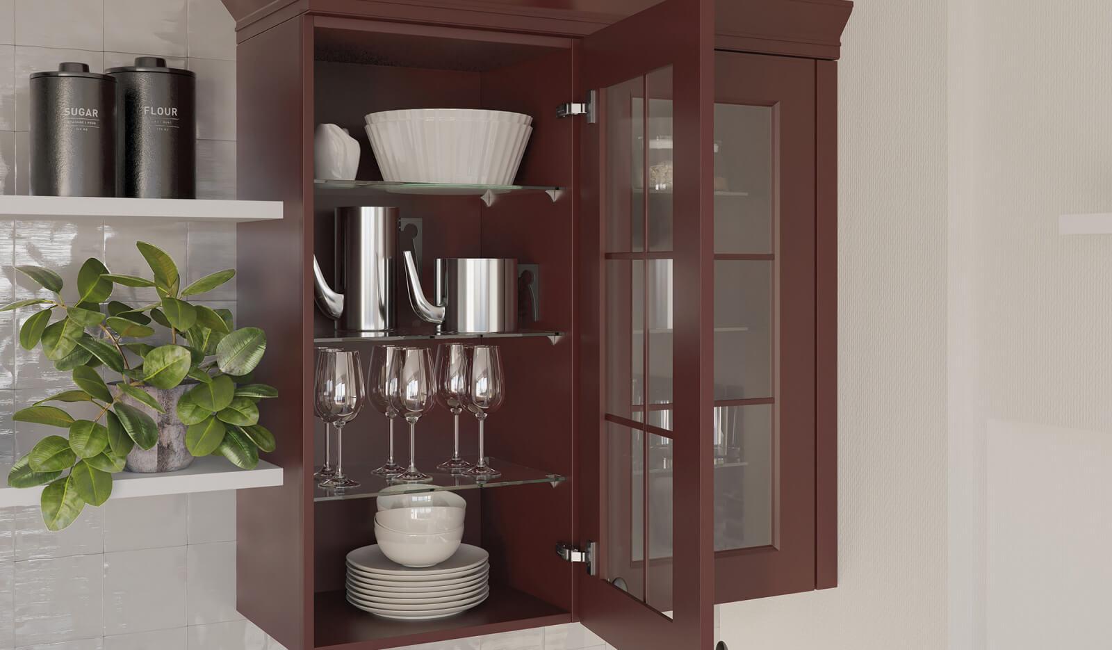 Keuken Rustiek robijnrood - bovenkast