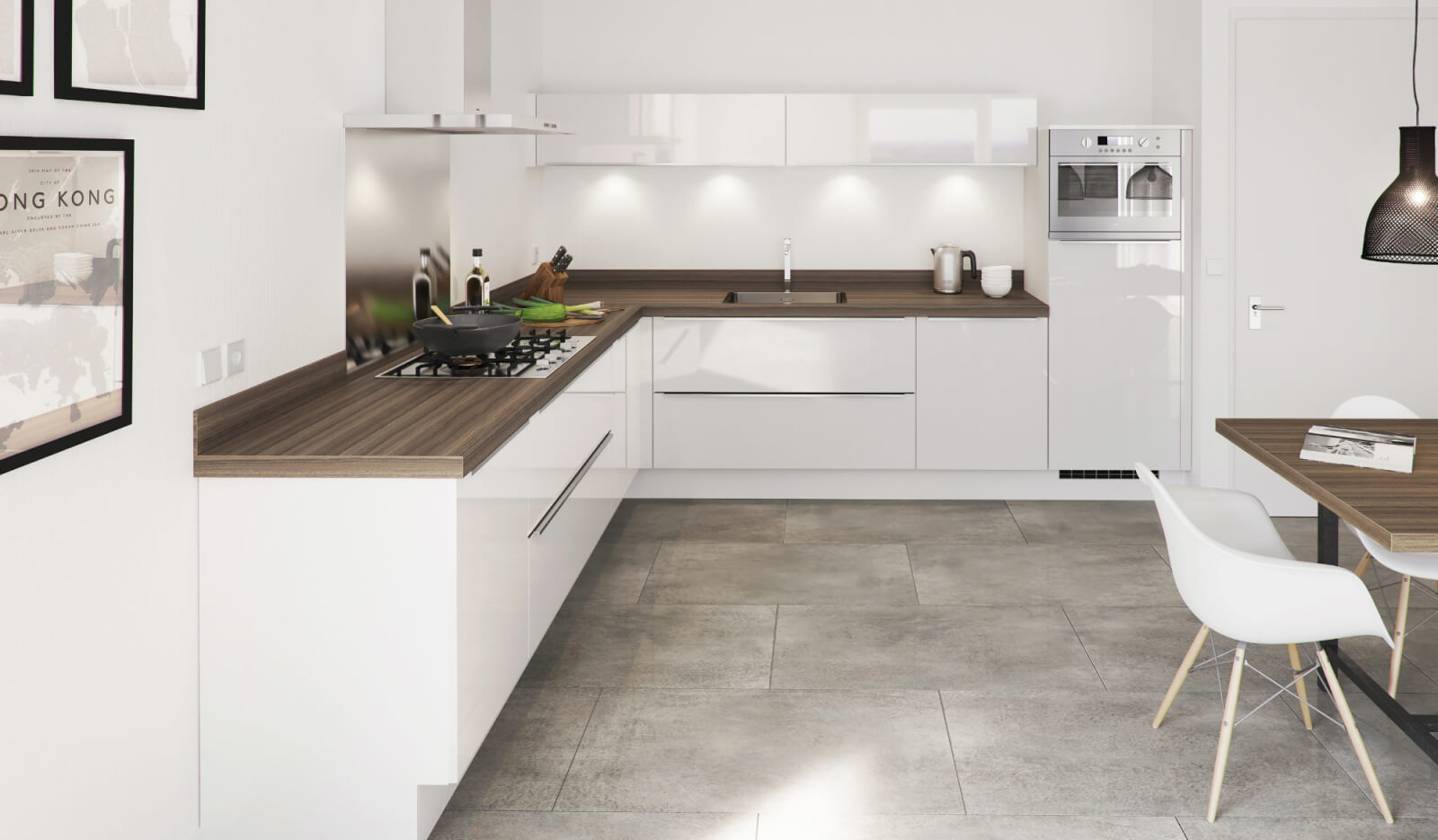 Keuken Pallas wit hoogglans - hoekkeuken