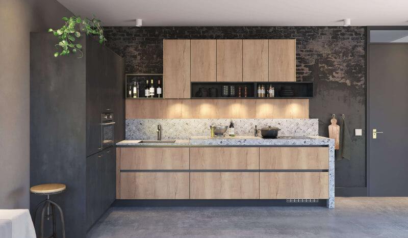 Keuken Atlas metaal zwart & Jura wild eiken licht